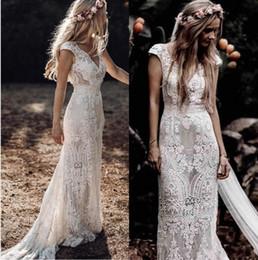 Wholesale 2020 Vintage Boho Lace Sheath Wedding Dresses V Neck Cap Sleeves Long Country Bridal Gowns Plus Size Sweep Train Robe De Mariee AL3184