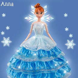 Princess dress uP shoes online shopping - Frozen Cartoon princess doll handmade dress shoes clothes crown Magic wand up Action Aisha Ana Lovely Toy Model For kid birthday gift O04