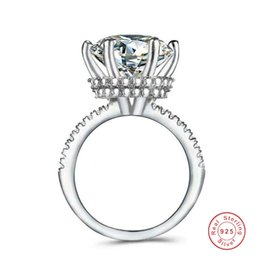 Wholesale Rulalei Brand Arrival Crown Wedding Rings Luxury Jewelry Real 925 Sterling Silver Round Cut White Topaz CZ Diamond Gemstones Eternity Engagement Ring