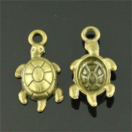 $enCountryForm.capitalKeyWord Australia - 150pcs Charm Sea Turtle Vintage Tortoise Charms Pendant For Jewelry Making Antique Bronze Color Turtle Charms 12x23mm