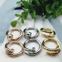 Wedding Gifts Silver Boxes Australia - Nail Ring Clou Band Wedding Lover Gift Jewerly Titanium Steel Silver CZ Stone Men Women with Box