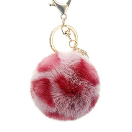 China Hot Lovely 7cm Leopard fur ball plush key chain round ball fluffy toy keychain hairy car key ring Bag Pendant car keychain christmas gifts supplier wholesale leopard keychains suppliers