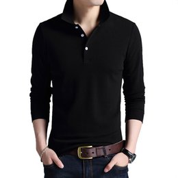 long sleeve polo korean Australia - 2019 men's fine cotton Korean long-sleeved t-shirt men's casual youth solid color POLO bottoming shirt