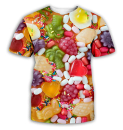 $enCountryForm.capitalKeyWord Australia - Candy 3D Men Women Short Sleeve Printed T-Shirt Colorful Candy Couple's Clothes Best Selling unisex Tee Colorful Lollipop CA006