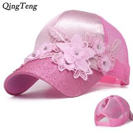 a3a2304b1c4 Ponytail Baseball Cap Women Messy Bun Summer Flowers Baseball Caps For  Girls Bling Visor Breathable Mesh Trucker Hat Pink Gorras