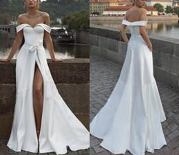 $enCountryForm.capitalKeyWord NZ - 2019 Simple Satin Plus Size White Bohemian A-Line Wedding Dresses for Brides Abendkleider Robes Split Sash Vestidos De Novia