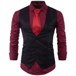 Wholesale khaki waistcoat mens resale online - Mens Single Breasted Suit Vest Brand New Slim Fit Waistcoat Vest Men Formal Business Party Wedding Dress Gilet Hombre