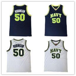 throwback high school basketball jerseys 2019 - Cheap #50 David Robinson Navy high school Basketball Jersey Retro Throwbacks Embroidery Stitched All Sewn White Navy blu