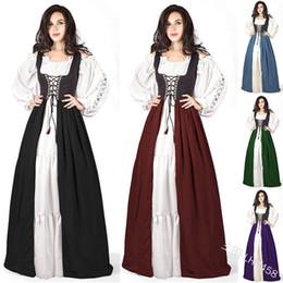 Wholesale victorian costumes women online – ideas plus size XXXXXL Adult Women Medieval Costume Maxi Long Gown Dress Victorian Sleeve Robe Back Lace Up Vintage fancy dress
