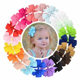 Flowers For hair accessories online shopping - High Quality inch Grosgrain Ribbon Boutique Bows With Clip Hairpins For Kids Girl Hair Accessories
