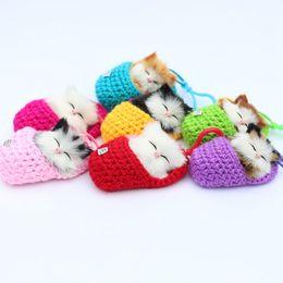 $enCountryForm.capitalKeyWord Australia - Cute Simulation Sounding Sleeping Shoe Cats Plush Dolls Toys for Girls Boys Kids Soft Stuffed Dolls Birthday Gifts for Children