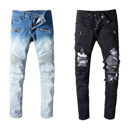 Chinese  Balmain Jeans New Fashion Mens Simple Summer Lightweight Jeans Mens Large Size Fashion Casual Solid Classic Straight Denim Designer Jeans manufacturers