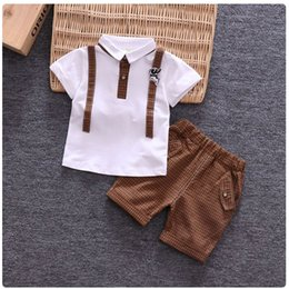 Boys Summer Suits For Wedding Australia - Boys c,othes sets summer kids fashion cotton wedding t-shirt+shorts 2pcs tracksuits for baby boys children clothing sets outfits suits