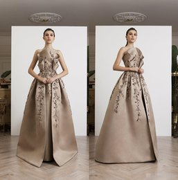 Cheap Little Pageant Dresses Australia - AZZI&OSTA 2019 Prom Dresses Appliqued Satin Formal Evening Gowns Floor Length Beaded Pageant Party Dress Cheap
