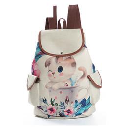 Linen String UK - good quality Cartoon Design Drawstring School Backpack For Teenage Linen Material Mini Cat Printed Travel Backpack Female