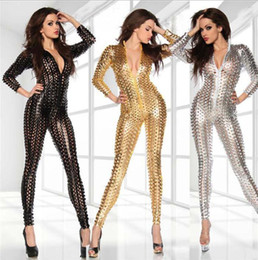 $enCountryForm.capitalKeyWord Australia - New sexy scales hole cat girl bag hip imitation leather onesies Jumpsuit PVC Spandex Latex Catsuit Costumes for Women Faux Fetish Leather B