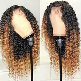 ombre kinky curly lace front wigs Australia - Ombre Blonde Human Hair Lace Front Wigs Kinky Curly Peruvian Virgin Hair Wig Two Tone Color Side Part Bleached Knots Baby Hair
