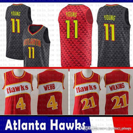 Young logo online shopping - Embroidery Logos Jerseys Trae Young Atlanta JerseySpud Webb Jacques Dominique Wilkins Basketball Hawks Mesh Retro Red Black