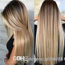 Gold straiGht hair online shopping - Sexy Womens Blonde Wig Ombre Long Brown Gold Straight Black Synthetic Hair Wigs Fashion Women s Make up Wigs ujibg