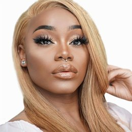 Long naturaL bLonde wig online shopping - 13 Lace Front Blonde Wig Pre Plucked hairline Brazilian Straight Remy Hair Honey Blonde Full Lace Wigs with Baby Hair