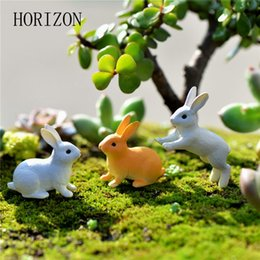 Rabbits Decor Australia - ecoration Crafts Figurines Miniatures 2pc set Rabbit Ornament Miniature Figurine Micro Landscape Terrarium Fairy Garden Decor Home Decora...