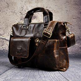 "Antique Zippers Australia - Mens Genuine Leather Antique Style Briefcases Business 16"" Laptop Cases Attache Messenger Bags Tote B260"