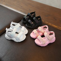 rubber shoes for girl size 25 2019 - 2019 Children sandals summer fashion boys girls beach soft Bling Sequins Sport Sneakers Shoes Sandals for Girls size 25