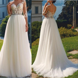 cap sleeve elegant wedding dresses Australia - Hot Sale 2019 New Elegant Cap Sleeves Lace Applique Wedding Dresses A Line Tulle Lace Applique Sheer Back Bridal Gowns with Buttons