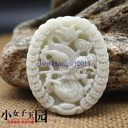 Carved Jade Red Pendants Australia - 100% Crafted carved beautiful Money Dragon Lantian white jade pendants