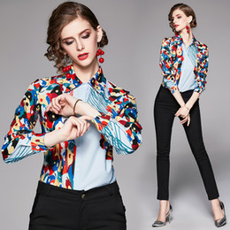 office blouse styles NZ - 2019 European Style Runway Floral Print Womens Long Sleeve Blouses OL Ladies Casual Office Button Front Lapel Neck Slim Shirts Tops New