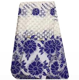 Zy001 Gestickte Afrikanische Spitze Stoff Hohe Qualität Für Nigerianischen Hochzeitskleid, wasserlösliche Spitze Mit Perlen Guipure Schnur Spitze im Angebot