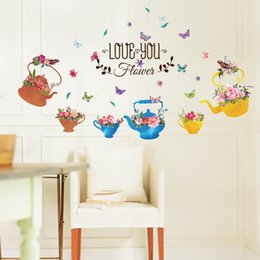 $enCountryForm.capitalKeyWord Australia - New hot hand-painted kettle potted windowsill living room Xuan Guan bedroom TV background wall decorative wall sticker Mural