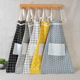 China Plaid Lace Apron Korea Adjustable Kitchen Cooking Apron Unisex Kitchen Cook Apron With Pockets Home Textiles Tool WX9-1309 supplier kitchen textiles suppliers