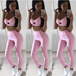 sexy pink yoga pants NZ - 2017 Pure Pink Women Yoga Sport Two Piece Set Women Sexy Yoga Set Sport Bra Paded Top+Long Pants High-Quality Jogging Suits