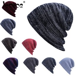 $enCountryForm.capitalKeyWord NZ - 1 Pcs Casual Autumn Striped Beanies for Men Warm Knitted Hats Fashion Men's Solid Hip-hop Caps Beanie Hat Male Skullies