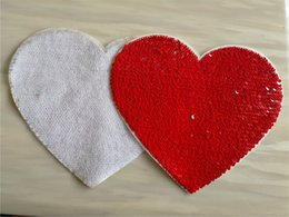 $enCountryForm.capitalKeyWord Australia - sublimation blank sequins heart red color patch material with back glue hot transfer printing custom diy consumables