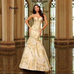 $enCountryForm.capitalKeyWord NZ - Finove Long Evening Dress 2019 New Sexy Champagne Plus Sizes Sweetheart Prints Mermaid Skirt Formal Prom Gowns For Woman#13597