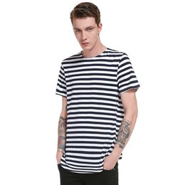 Mens Long Sleeve T Shirt Xxl Australia - 2019 Brand New Clothing Men Long T Shirt Short Sleeve Mens Hip Hop Longline Striped T-shirt Tops Tee Tshirts Men Undershirt Xxl