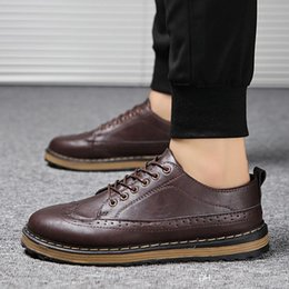 Casual shoes men korean style online shopping - 2019 New European and American style Thick soled shoes Men s Korean version of Brock Men s shoes Tide models Breathable Fashion Casual Youth