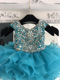 cupcake pageant dresses for infants Canada - Teal Little Girl Pageant Dress for Infant Toddler Kids 2019 Cupcake Glitz Crystal Rhinestone Ruffle Baby Girl Prom Dance Gown Scalloped Neck
