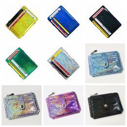 Coin Banks Wholesale Australia - Laser Hologram Card Bag String Bus Card Bags Shinning Crad ID Holder Girl Fashion Bentoy Bank Card Bag Sliver Golden BagsFree Shipping