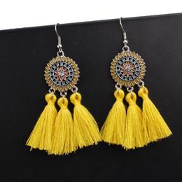 Yellow Flower Jewelry NZ - Exknl Large Long Yellow Tassel Earrings Women Statement Flower Fringe Earrings Boho Ethnic Party Drop Dangle Jewelry