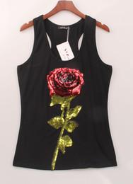 Mujer sexy Tops camisetas de verano para las mujeres sin mangas con lentejuelas negro blanco flor rosa camisetas S-XL en venta