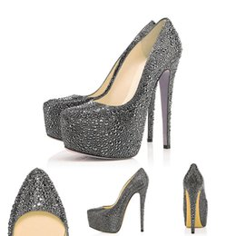 862d057d6 Designer Pumps Pointed Toe High Heels Red Rottoms Crystal Platform Wedding Shoes  Rhinestone 16CM Wedding Party Dress Shoes 35-42