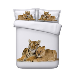 China Wildlife Tiger Leopard Bed Spread 3D Bedding Sets White duvet 3 Pieces Duvet Cover Set Comforter Quilt Bedding Cover With Zipper Closure supplier drying machine cleaner suppliers