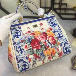 $enCountryForm.capitalKeyWord Australia - 2017 winter flowers of blue and white porcelain color printing Sicily Handbag Shoulder Messenger leather bag medium