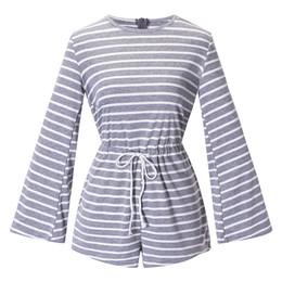 Women Jumpsuit Romper Playsuit Australia - 2019 New Women Stripe Print Playsuit O Neck Flare Sleeve Overalls Holiday Beach Romper Jumpsuit Shorts Black Dark Grey Bodysuit