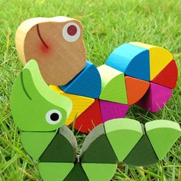Toys change shape online shopping - Wooden Toys Cute Crooked Worm Design Toy Magic Multi Change Educational Tools Caterpillar Shape Children Puzzle Gifts C23