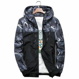 Long Windbreaker Jackets Australia - 2019 Mens Fashion Jacket Thin Slim Long Sleeve Camouflage Military Jackets Hooded Windbreaker Zipper Outwear Army Brand Clothing