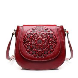 China Clutch Bag UK - China Style Retro Red Genuine Leather Embossing CrossBody Bag Luxury Women Circle Hand bag Designer Crossbody Bag Female Clutch Purses 2019
